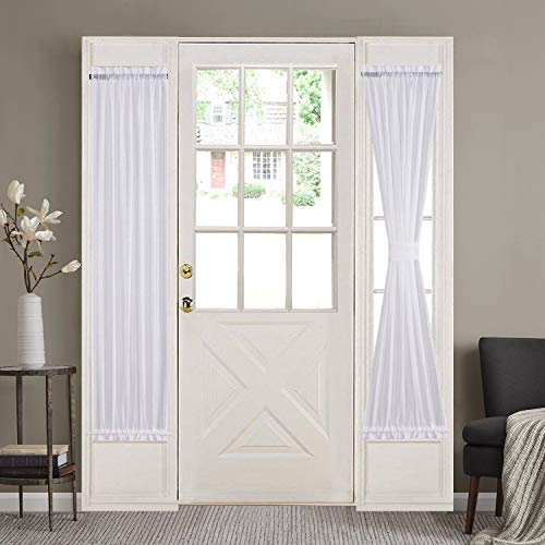 HOME BRILLIANT Side Lights Front Door Curtains Entry Way Decor White Semi Sheer Elegant French Door Panels (30 Width x 72 Length, 2 Panels) (Panel Curtains Door Window Side)