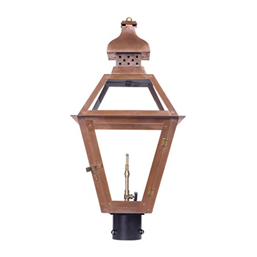 Outdoor Gas Post Lantern Bayou Collection In Solid Brass In an Aged Copper finish. (Bayou Gas Lantern)