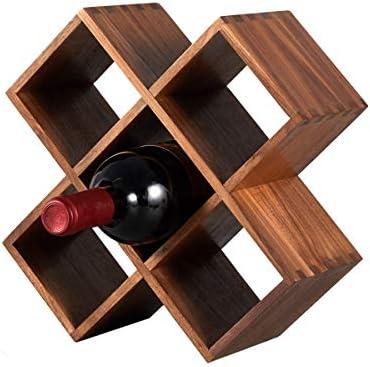 LTLWSH Estante para Botellas de Vino – Botelleros de Madera para Vino u Otras Bebidas – Vinoteca de Madera para 5 Botellas, Organizador rústico para decoración de mostrador