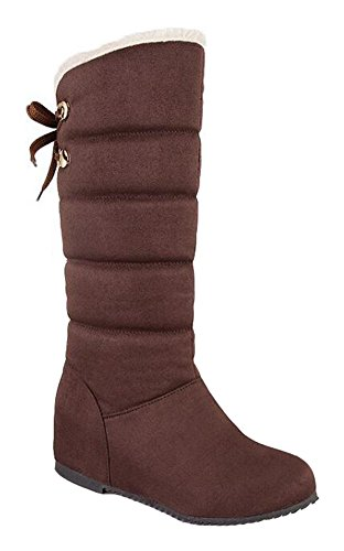 CHFSO Womens Casual Waterproof Fully Fur Lined Pull On Mid Calf Heighten Mid Wedge Heel Winter Warm Snow Boots Brown YezVuWR