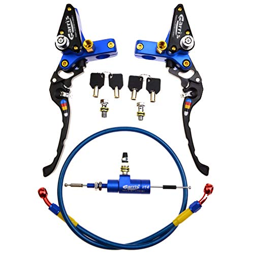 (WOOSTAR CNC Hydraulic Clutch Pump Assembly with Brake Pump Universal for Motorcycle Dirt Bike ATV Blue)