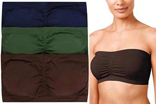 Skirt Americana - ToBeInStyle Women's 3Pk Tube Bra - Navy/Army Green/Americano - 2X/3X