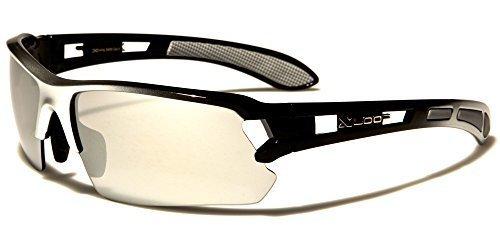 Sport Sonnenbrille Damen Herren Schwarz Weiß Silber verspiegelte Gläser X-Loop QBIDLXh