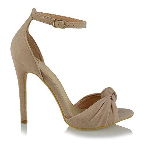 Cinturino Finto Donna Tacco Toe Scamosciato Alto Sandalo Essex Glam Alla Peep Caviglia Nuziale Sintetico Carne B4xwERW