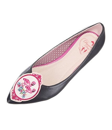 Banned Apparel Flamingo Embroidery Retro Heart Flats Shoes Black ikVDx7ZijU