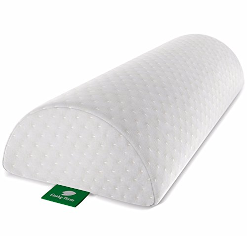 Cushy Form Back Pain Relief Half-Moon Bolster/Wedge - Provides Best Support for Sleeping on Side or Back - Memory Foam Semi-Roll Leg/Knee Pillow with Washable Organic Cotton Cover (Large, White) (Bed Support Back)