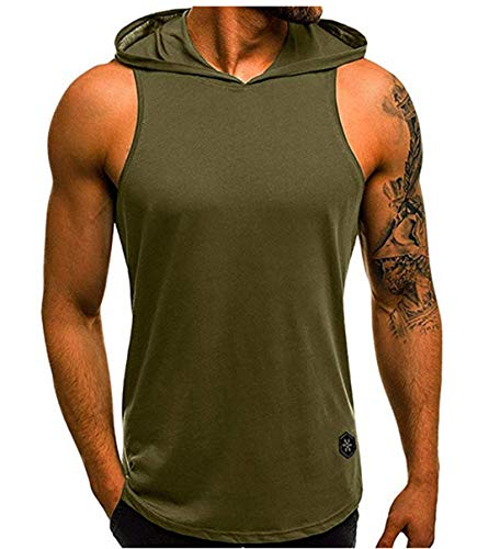 f506dd467e793 Men s Sleeveless Hoodie Stringer Fitness Bodybuilding Workout Hooded Tank  Tops with Pocket