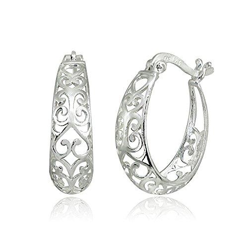 LOVVE Sterling Silver High Polished Filigree Heart Oval Hoop Earrings ()
