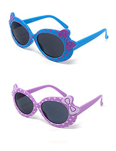 1 x Purple 1 x Blue Coloured Childrens Kids Girls Stylish Cute Designer Style Sunglasses with a Bow and heart Style UV400 Sunglasses Shades UVA UVB Protection