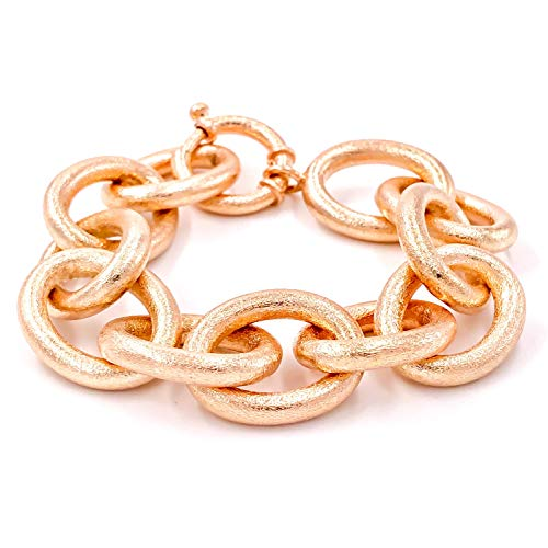 Bracelet Chunky Link (lycia jewelry Chunky Cable Chain Rope Bracelet 925 Silver 14K Rose and Yellow Gold Plated (Yellow Gold))