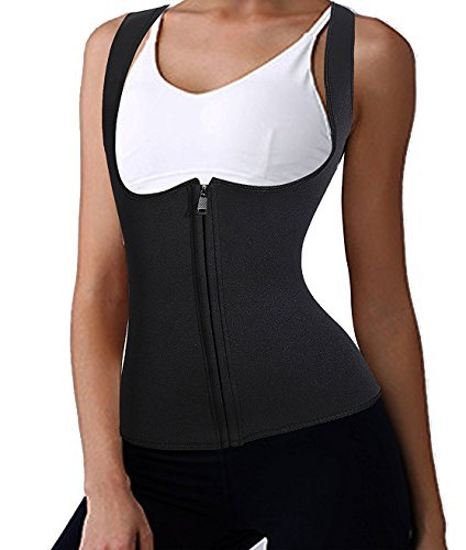 Waist Cincher Shaper Slimmer Vest Corset Waist Trainer Shaper Girdles Shoulder SUPPORTS Tummy Control Tank Top Underbust Waist Trainer Vest Sexy Fashion Breathable Sports Fitness (3XL, Black) Microfiber Easy Control Pants
