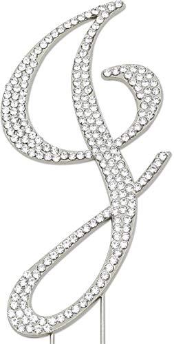 Sparkly Rhinestones Letter J Cake Topper, Birthday Wedding Anniversary Silver Initial - Silver Monogram 2.5 Inch