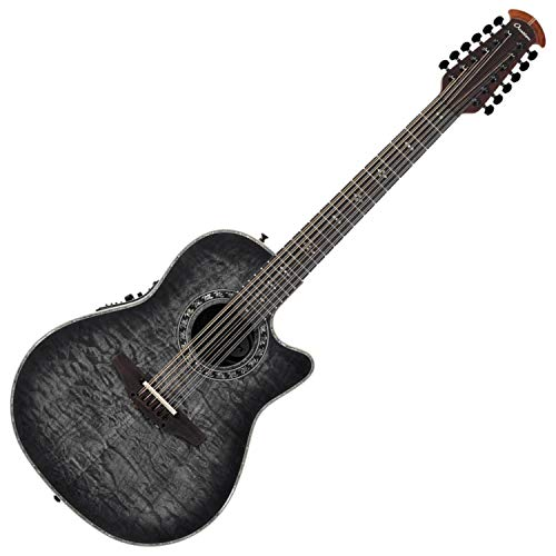 Ovation ExoticWoods Collection 12 String Acoustic-Electric Guitar, Right, Black Satin Quilted (C2059AXP-5S)
