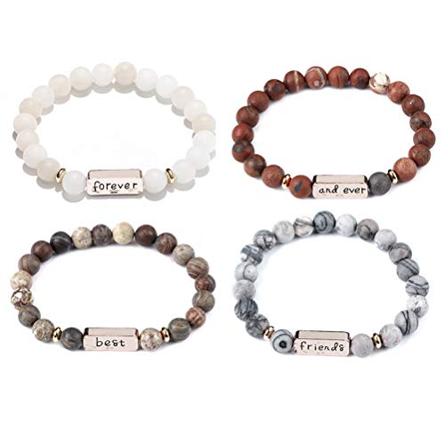 Charm.L Grace Couples Best Buds Friends Forever and Ever Bracelets EngravingBeads Stretch Bracelet 9MM Stone