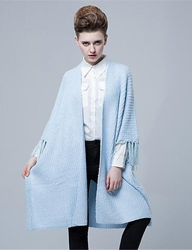 Long Xuanku Solid Thick Print Daily Casual Simple Sleeves Length Neck Wool Winter Micro elastic Blue 4 3 Women's Polyester V Cotton Fall Cardigan grqWfrIn