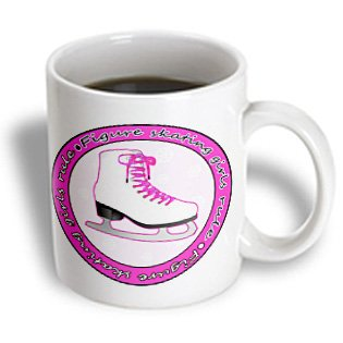 Janna Salak Designs Ice Skating - Figure Skating Girls Rule Pink Skate - 15oz Mug (mug_77469_2)