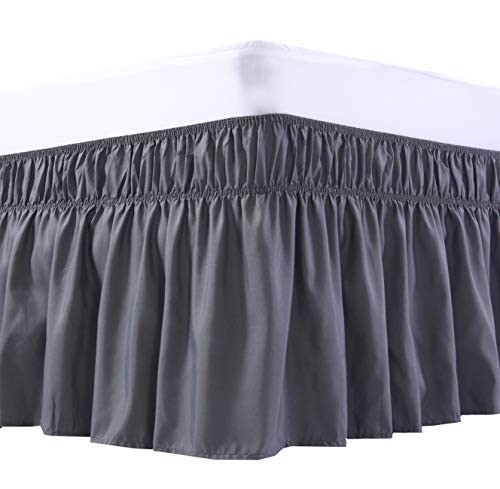 MEILA Three Fabric Sides Wrap Around Elastic Solid Bed Skirt, Easy On/Easy Off Dust Ruffled Bed Skirts 16 Inch Tailored Drop (Dark Grey Queen/King)