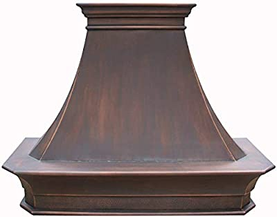 SINDA Copper Best H20 302127S Antique Copper Oven Hood with Commercial Grade Stainless Steel Vent, Includes lighting, fan motor, baffle filter, Wall Mount 30 x 27 inches