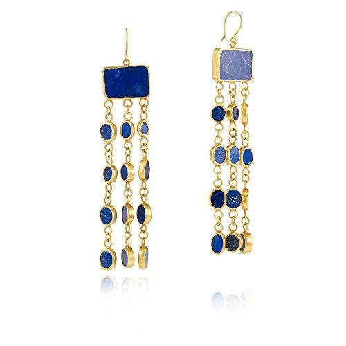 Pippa Small Boucles d'Oreilles Plaqué Or Ronde Lapis Lazuli Bleu Femme