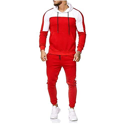- 2Pcs G-Real Fashion Men's Autumn Patchwork Sweatshirt Tops Pants Sets Sports Suit Tracksuit Red