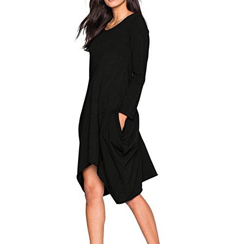 702f891eb05d47 iBaste Damen Oversized Long Shirt Kleid Elegant Tunika Langarm Baggy Lose T- shirt Tops Bluse