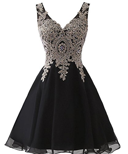 Beaded Short Dress Little Black Dress (Plus Size V Neck Short Beaded Gold Lace Prom Dress Homecoming Gowns Little Black US 18W)
