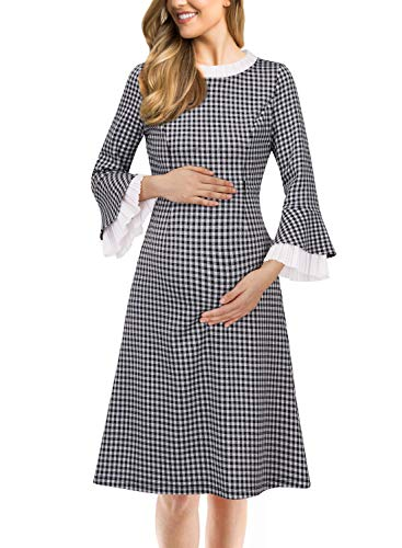 VFSHOW Womens Mama Maternity Nursing Bell Sleeve Work Cocktail A-Line Dress