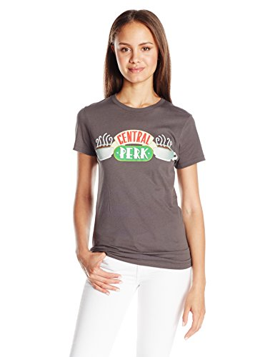 Goodie Two Sleeves Juniors Central Perk Coffee Place Graphic Tee, Charcoal, Small (Friends Central Perk Tshirt compare prices)
