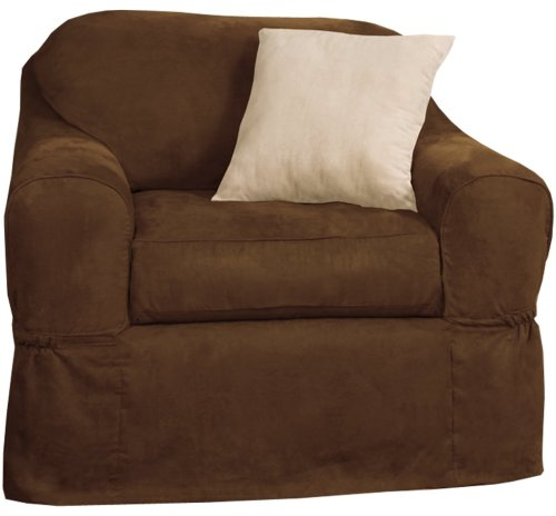 Polyester Suede Slipcover (Maytex Piped Suede 2-Piece Chair Furniture Cover / Slipcover, Brown)
