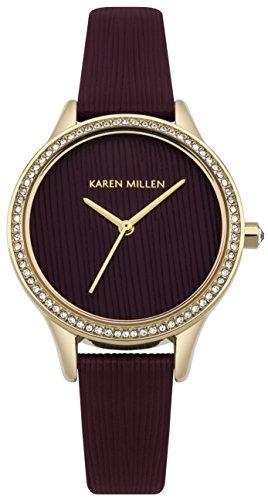 Karen Millen Women's Quartz Gold-Tone and Leather Casual Watch, Color:Red (Model: - Karen Millen Shop