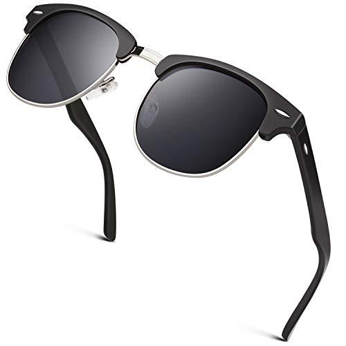 GQUEEN Horn Gestell Halbrahmen Polarisierte Sonnenbrille GQO6