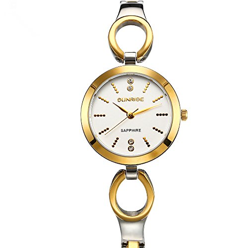 Fashion Casual Gold and Silver Quartz Ladies Watch with Delicate Box Designed for Women - Valentine's Day gift ()