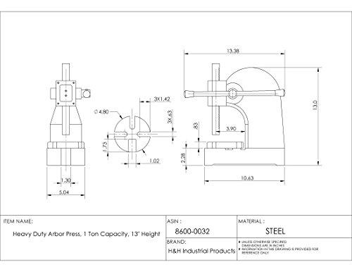 HHIP 8600-0032 Heavy Duty Arbor Press, 1 Ton Capacity, 13 Height (Pack of 1)