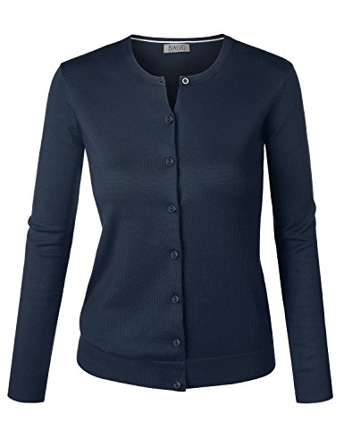(BIADANI Women Round Neck Button Down Soft Classic Knit Cardigan Sweater Navy Medium)