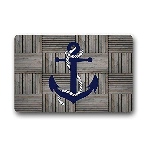 (DaringOne Doormat Vintage Retro Nautical Anchor Indoor/Outdoor/Front Door Mat,Navy 23.6 x 15.7inch)