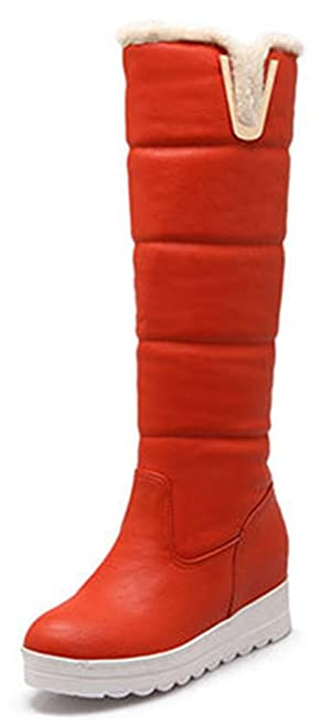 Sfnld Women's Trendy Quilted Round Toe Platform High Wedges Warm Knee High Snow Boots Orange