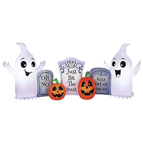 Pumpkin Hollow 8' W x 3.5' H Fun Ghost and Tombstone Inflatable Halloween Decorations Indoor/Outdoor Yard Decor with Energy Efficient LED Lights -