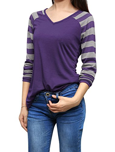 Allegra K Women's Striped Long Raglan Sleeves V Neck T-Shirt XL Purple (Doc Mcstuffins Adult Costume)