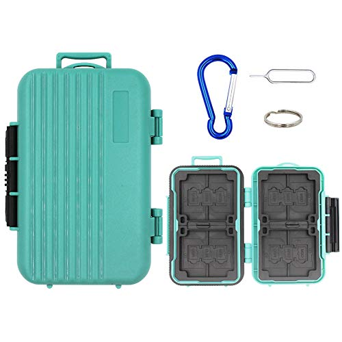 Resistant Holder Water (Water-resistant Memory Card Carrying Case Shockproof Protector Box 24 Slots for 4 CF cards/8 Piece SDHC/SDXC Cards and 12 Micro SD Cards.(Green))