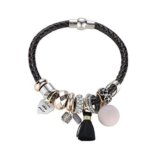 Nmch Bangle Bracelets,Pearl Rhinestones Alloy Bracelet Risers Acrylic Layer Bracelet For Women (Black) - Exclusive Pearl Bracelet