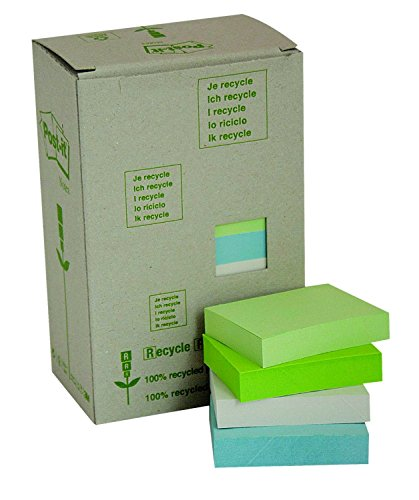 Post-it Recycled Notes - Pastel Rainbow - Light Green, Grass Green, Grey - Tower Pack of 24 Pads - 100 Sheets per Pad - 38 Mm X 51 Mm