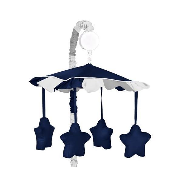 Sweet Jojo Designs Modern Navy and Gray Stripe Musical Baby Crib Mobile