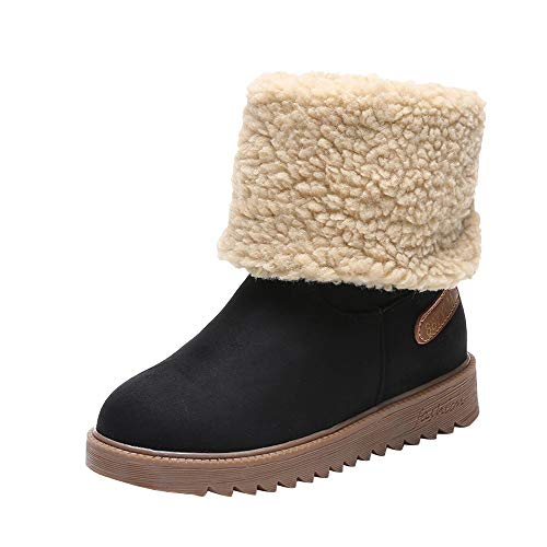 LONGDAY ⭐ Women Cute Warm Short Boots Suede Chunky Mid Heel Round Toe Winter Snow Ankle Booties with Fur Comfortable