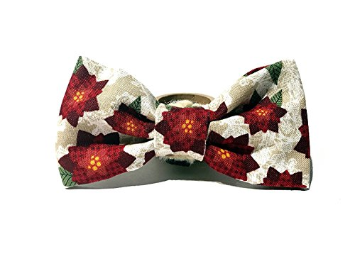 Holiday Lights Poinsettias - Very Vintage Designs Rustic Poinsettia - Light Brown Rustic Lace Red Poinsettia Christmas Holiday Xmas Seasonal Hand-crafted Bow Tie for a Dog or Cat Collar - Bowtie only - Handmade in the USA