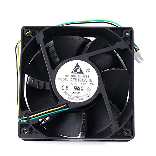 120mm PC Fan High Speed - Delta AFB1212SHE 2018 Updated Version High Speed 12V DC 120mm 3Pin PC Computer CPU Case Exhaust Muffin Fan 200CFM With Metal Finger Guard Grill