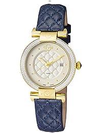 by Gevril Women's Berletta Gold Tone Swiss Quartz Watch with Leather Strap, Blue, 18 (Model: 1503.3)