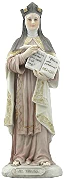 Saint St Teresa of Avila Patron of the Sick 8 1 4 Inch Light Color Stone Resin Statue Figurine