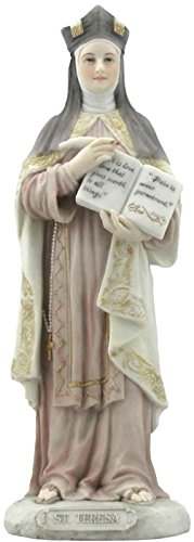 Saint St Teresa of Avila Patron of the Sick 8 1/4 Inch Light Color Stone Resin Statue Figurine