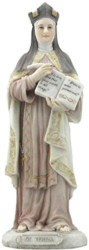 Saint St Teresa of Avila Patron of the Sick 8 1/4 Inch Light Color Stone Resin Statue Figurine (St Teresa Of Avila Patron Saint Of)