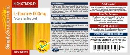 L-Taurina 600 mg - 120 cápsulas - Hasta 2 meses de suministro - ejercicio prolongado y de intensidad - SimplySupplements: Amazon.es: Salud y cuidado ...